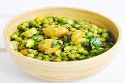 Salata cu mazare verde, masline si pesto